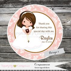 First Communion Confirmation Religious Set by SerendipityPartyShop Personalized Stickers, Personalized Favors, Favor Tags, Gift Tags, Communion Decorations, Cake Decorating For Beginners, Cupcake Card, Confirmation Gifts, Thank You Tags