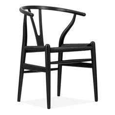 Hans J Wegner Wishbone stol – svart/svart sits