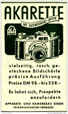 Original-Werbung/ Anzeige 1951 - AKARETTE KAMERA / APPARATE UND KAMERABAU - FRIEDRICHSHAFEN - SEEMOOS - ca. 35 x 50 mm