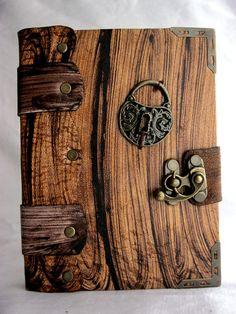 Handmade Small Lock pendant leather journal notebook sketchbook