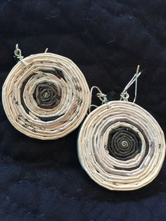 n. 49 BLACK & WHITE  round coiled recycled paper pierced earrings with glass beads measure 1.5""