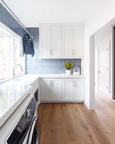 Amazing white laundry room renovation with grey blue tile backsplash. Modern laundry room, tons of space. Kitchen Backsplash Designs, Modern Tile Designs, Room Design, Laundry Mud Room, Home, Blue Laundry Rooms, Kitchen Remodel, Backsplash Designs, Kitchen Design