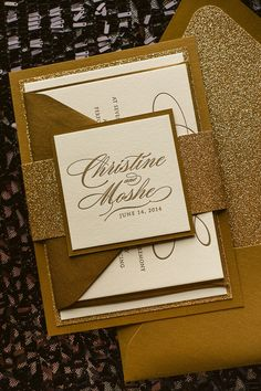DIANE Suite Fancy Glitter Package, gold glitter wedding invitations, gold and…