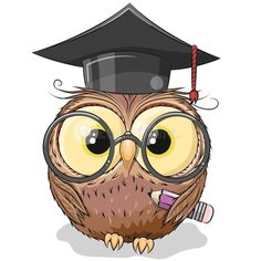 Clever owl with pencil and in graduation cap. Cute Clever owl with pencil and in graduation cap vector illustration