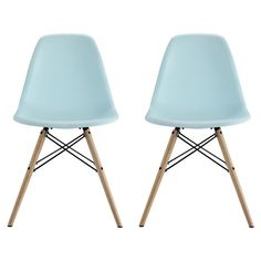 Mid Century Modern Molded Chair With Wood Leg (Set Of 2) -