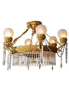A MAGNIFICENTLY CAST & HAND CHASED DORE BRONZE & CUT CRYSTAL RUSSIAN, 19 LIGHT CHANDELIER