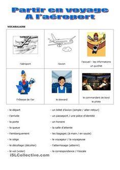 Fiche de compréhension écrite pour travailler le vocabulaire du voyage en avion et les différents actes de paroles auxquels sont confrontés les étrangers lorsqu'ils voyagent. - Fiches FLE