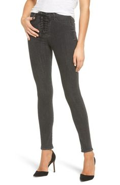 Hudson Bullocks High Waist Lace-up Skinny Jeans In Vacancy Hudson Jeans, Super Skinny Jeans, Jeans Style, Stretch Fabric, High Waist, Black Jeans, Lace Up, Pants, Clothes