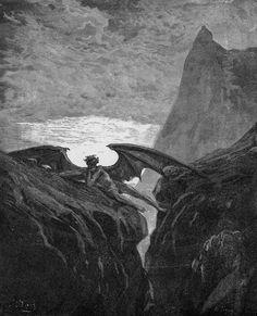 "Gustave Doré, Illustration for John Milton's ""Paradise Lost"", 1866. Break in battle in heaven (Book 6 Line 406)"