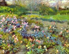 """""""Rose Garden,"""" by Pierre August Renoir. The precise date this painting was completed is unknown, but Renoir painted this piece around the Just spectacular! Pierre Auguste Renoir, Edouard Manet, Renoir Paintings, Happy Paintings, Vincent Van Gogh, August Renoir, Cagnes Sur Mer, Gustave Courbet, Georges Seurat"""