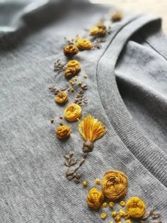 Hand MONOCHROME floral collar embroidered organic cotton t shirt # . - Hand MONOCHROME floral collar embroidered organic cotton t-shirt colla - Hand Embroidery Videos, Embroidery On Clothes, Embroidery Flowers Pattern, Simple Embroidery, Embroidered Clothes, Hand Embroidery Patterns, Ribbon Embroidery, Embroidered Flowers, T Shirt Embroidery