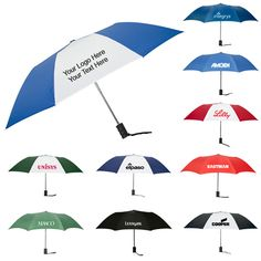 "42 Inch Arc Customized Auto Open Folding Umbrellas: Available Colors: Black/White, Hunter/White, Navy, Black, Hunter Green, Red, Royal, Royal/White, Navy/White, Red/White. Product Size: 42 Inch Arc. Imprint Area: 7""W x 6.5""H. Carton Weight: 34.06 lbs. Packaging: 48. Material: Nylon Fabric. #customumbrella #promotionalproduct #rainyday"