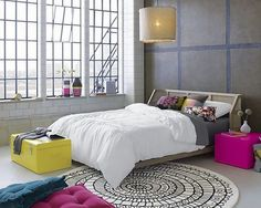Pretty colourful bedroom makeover with crisp white duvet cover light purple of side table and yellow diy bedroom bench idea Wicker Furniture, Bedroom Furniture, Bedroom Decor, Bedroom Ideas, Bedroom Designs, Wicker Dresser, Wicker Mirror, Wicker Shelf, Bedroom Colors