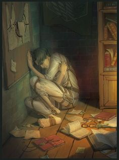 This is so sad. You can see Hanji's glasses on the floor :'(