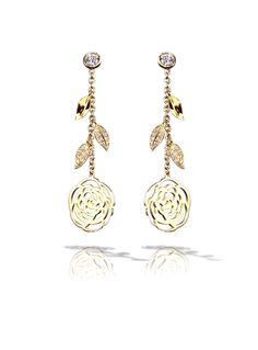 Gojee - Camélia Earrings In 18K Yellow Gold And Diamonds by Chanel