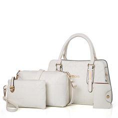 Ladies Concise Geometric Embossed Four Piece Handbag Sets Wholesale Bags, Cheap Bags, Sammy Dress, Online Bags, White Women, Shopping Bag, Crossbody Bag, Clutch Bags, Shoe Bag