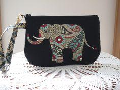 Clutch Wristlet Zipper Gadget Pouch Smart Phone Bag in Funky Retro Elephant Caravan - pinned by pin4etsy.com