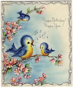 Sweet little blue birds with a birthday wish.