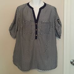 Women's blouse Cute navy and white chevron blouse with gold buttons. Never worn! Penelope's Closet Tops Blouses