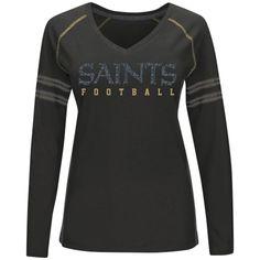 d11690bcd Minnesota Vikings Merchandise · New Orleans Saints Majestic Women s Deep  Fade Route Long Sleeve T-Shirt – Black Saints