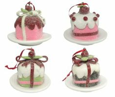 Amazon.com - Cupcake Petit Four Shaped Clay Christmas Ornaments Set of 4 -