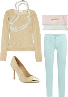 """beige, mint, and pearls"" by rubi76 on Polyvore"