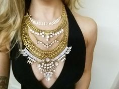 THE SANTE FE Necklace. Gold Crystal Holiday Statement Necklace from OWhyDontYou