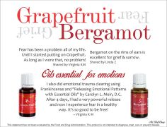 """Grapefruit for fear and Bergamot on rims of ears for grief and sorrow Frankincense for emotional trauma clearing from the book by Carolyn L. Mein, D.C. """"Releasing Emotional Patterns with Essential Oils"""""""