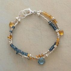 "COLOR COMBO! BUTTERBLUE BRACELET $98 Rondelles of butterscotch citrine and blue quartz populate this bracelet's two strands, accentuated with the occasional briolette. Exclusive. Handcrafted in USA. Sterling silver beads. 7""L."