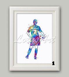 Girl Soccer Player 1 Print Watercolor Print Sports Art Print Girl Soccer Player Nursery Art Soccer Wall Poster Football Poster Wall Hanging