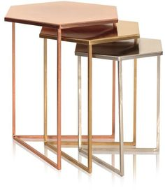 Oliver Bonas Set of Three Hexagon Metallic Nesting Tables