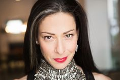 Stacy London on everything from the not-so-glamorous (struggling with psoriasis) to the ultra-luxe (her shoe closet) Stacy London, Grey Hair, Dark Hair, Gray Streaks, Beautiful Old Woman, Purple Lips, Let Your Hair Down, Interesting Faces, Fashion Stylist