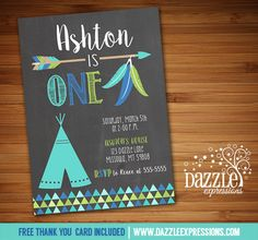 Printable Chalkboard Teepee and Arrow Birthday Invitation | Tribal Party | Tribe | Kids Birthday Idea | FREE thank you card included | Available for a baby shower, just ask! | Matching printable party package available! Banner | Cupcake Toppers | Favor Tag | Food and Drink Labels | Signs | Candy Bar Wrapper | www.dazzleexpressions.com