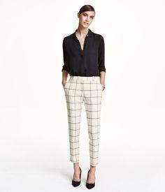 White & black checked ankle-length slacks, with tapered leg & welt back pocket.   H&M Modern Classics