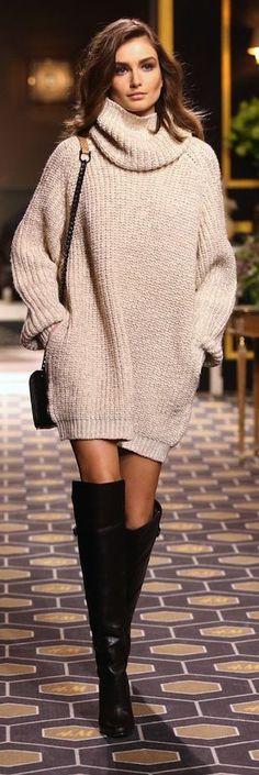 Beige Loose Knit Turtleneck Dress by Le Fashion