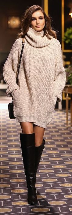 Beige Loose Knit Turtleneck Dress