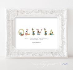 Personalised Beatrix Potter Nursery Baby Print