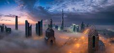 0 - Cityscapes and Modern Architecture, 0 - Portfolio, 1 - Middle East, 2 - UAE, Skyline, X-Pro2, architecture, blue hour, city, cityscape, dubai, fog, fujifilm, night, pano, panorama, rooftop, sunrise, travel, uae
