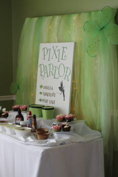 Ice cream bar at a Pixie Party #icecreambar #pixieparty