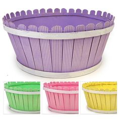 Springtime Picket Fence Round Basket The Lucky Clover Trading Co.