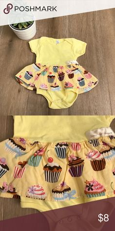 Jesse's girl Couture onsie with Skirt 3-6 mos Super cute Jesse's girl Couture onsie with Skirt 3-6 mos. Yellow onsie with cupcake skirt. Like new. Washed but never used. 🎈😊 Jesse's Girl Couture Dresses Casual