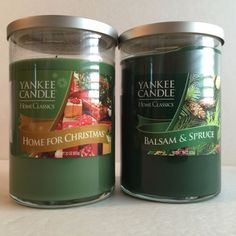 Yankee Candles Home For Christmas Balsam & Spruce 22 Oz Jars Lot of 2 One is New #Yankee