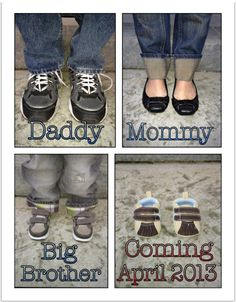 Baby Shoes - Cute Pregnancy Announcment with the family's shoes Fun Pregnancy Announcement, Baby Shower Announcement, Pregnancy Photos, Funny Pregnancy, Baby Announcements, Maternity Poses, Maternity Pictures, Baby Pictures, Baby Photos