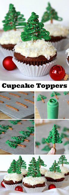 Pretzel Christmas Tree Cupcake Toppers Easy to make, Chocolate Pretzel Christmas Tree Cupcake Toppers look so festive atop coconut frosted cupcakes. A yummy and decorative Christmas treat.Easy to make, Chocolate Pretzel Christmas Tree Cupcake Toppers look Christmas Cupcakes Decoration, Christmas Tree Cupcakes, Holiday Cupcakes, Christmas Snacks, Christmas Cooking, Christmas Desserts, Holiday Treats, Holiday Recipes, Cupcakes Decorating
