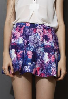 #Chic wish                #Skirt                    #Blooming #Floral #Print #Pleated #Skirt #Purple    Blooming Floral Print Pleated Skirt in Purple                                 http://www.seapai.com/product.aspx?PID=1251845