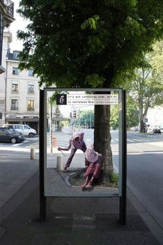 """Amazing billboards by @Amnesty International Switzerland on bus shelters: """"It's not happening here, but it's happening now"""""""