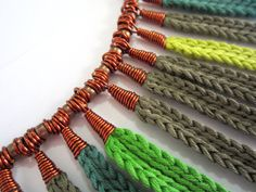 Crochet necklaceleaves necklacefiber by GiadaCortellini on Etsy