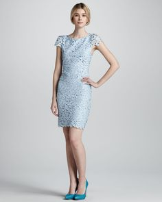 Mother of Bride powder blue lace dress | powder blue lace dress for the reception or bridesmaids | OneWed.com