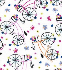 Novelty Cotton Fabric- Bikes With Baskets