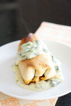 Baked Chicken Burritos with Sour Cream-Poblano Sauce
